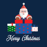 Santa Claus vector illustration with three gift box and white text Merry Christmas on dark blue background for postcard or getting card.