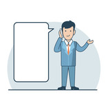Linear Flat Business man making phone call vector talk bubble