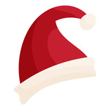 Santa hat icon in cartoon style isolated on white background vector illustration