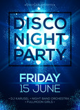 Fototapety Disco night party vector poster template with blue light spotlights background