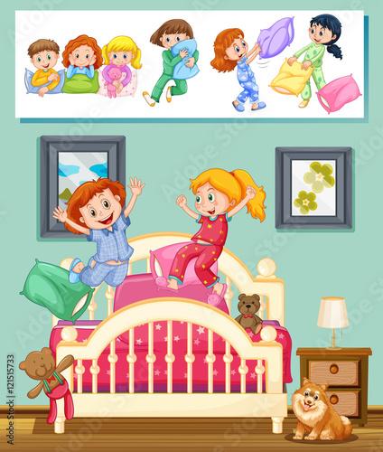 Fotobehang Muziek Kids at slumber party in bedroom