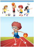 Boy playing basketball and other sports