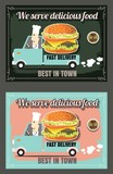 Restaurant Fast Foods menu fast delivery on chalkboard vector fo