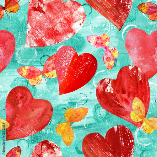 Cotton fabric Seamless pattern with red hearts and watercolor butterflies on t