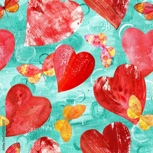 Materiał do szycia Wzór z czerwone serca i motyle akwarela na t