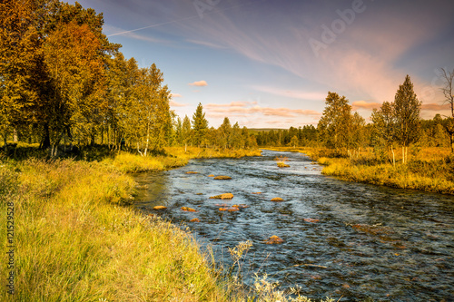 Foto op Canvas Lavendel Mountain river in autumn. Norway