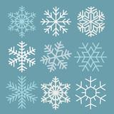 Fototapety Snowflakes winter symbol abstract design; Christmas season celebration frozen element.