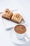 Walnut baklava and Turkish coffee