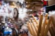 Drum sticks close up in drum store