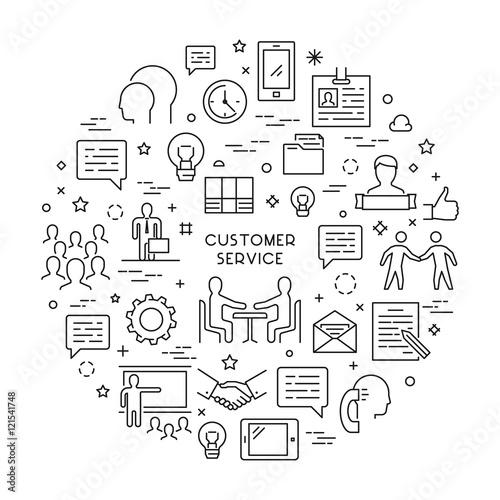 Vector line concept customer service