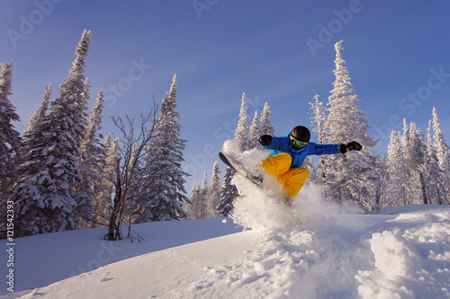 Snowboarder jumping Poster