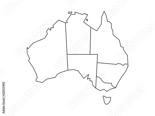 Blind map of Australia divided into states and territories Poster