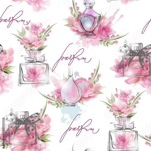 Materiał do szycia Seamless pattern with beautiful bottles of perfume. Womens perfume. Vector watercolor.