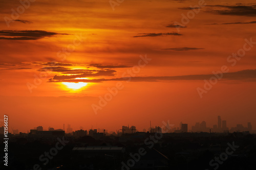 Foto op Canvas Baksteen Sunset at city of Bangkok,Thailand