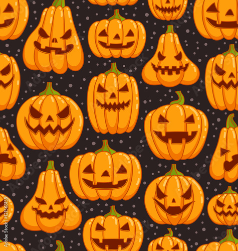 Cotton fabric Halloween pumpkins pattern