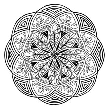 Hand-drawing mandala, round floral ornament. Pattern for coloring book or print for cloth. Vector stock illustration.