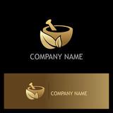 gold mortar traditional organic logo