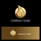 leaf abstract gold logo