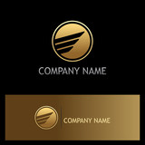 round abstract wing gold business logo