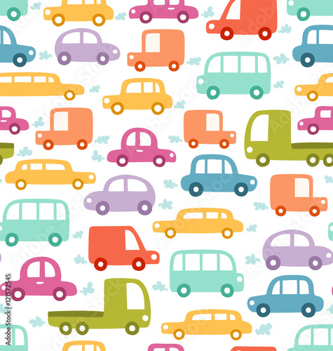 Plexiglas Auto Cartoon cars seamless pattern