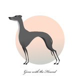 Standing greyhound isolated on background. Stylized image dog.