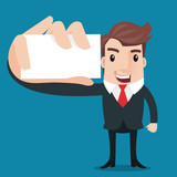Business man showing blank display card.- vector illustrator