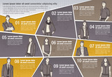 Vector brochure backgrounds with business people. Infographic template design.