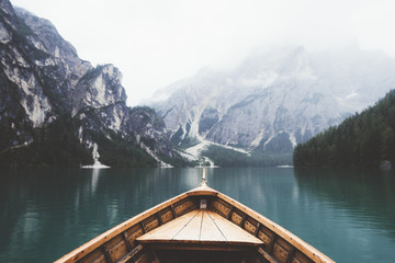 Wood boat in Braies lake