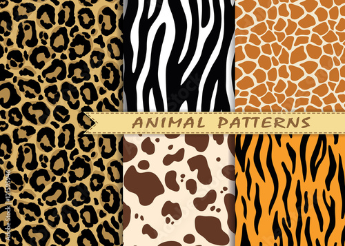 mata magnetyczna Vector seamless patterns set with animal skin texture. Repeating animal backgrounds for textile design, scrapbooking, wrapping paper. Vector animal prints.