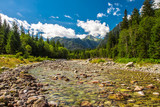 Alpine valley with the river in High Tatras national park, Slovakia