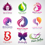 set of vector logos beauty salon set design