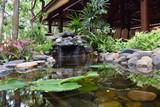 fountain stream landscaping in garden