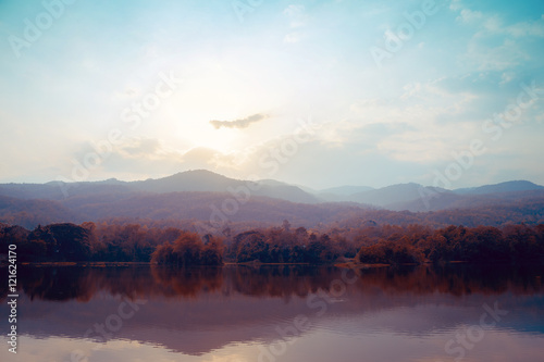 Landscape of lake mountains in autumn - vintage styles. - 121624170