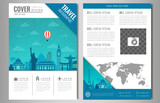 Fototapety Travel information cards. Travel and Tourism brochure with famous world landmarks. Vector