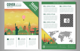 Travel brochure design with famous landmarks and world map. Template for Travel and Tourism Business concept. Vector