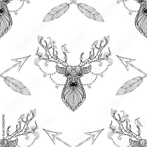 Cotton fabric Magic deer with arrows seamless pattern in zentangle style. Free