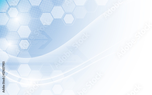 Deurstickers Abstract wave hexagon structure and smooth wave technology concept background