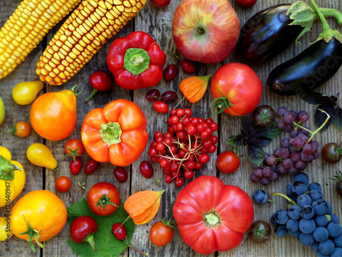 orange, red, purple fruits and vegetables Poster