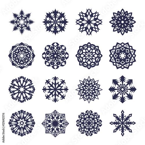 Keuken foto achterwand Vrouw gezicht Vector snowflake icon set isolated on white background