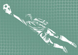 vector illustration of goalkeeper with net on background