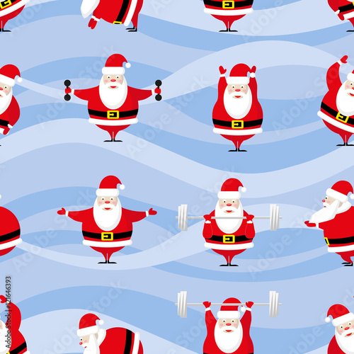 Materiał do szycia Seamless Happy New Year and Merry Christmas background funny sportsman Santa Claus does morning exercises in different poses. Vector illustration