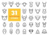 Farm animals outline icons set. Vector head - 121654921