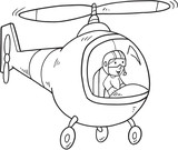 Cute Doodle Helicopter Vector Illustration Art
