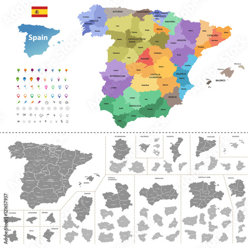 vector Spain map (colored by autonomous communities) with administrative divisions