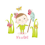 Baby Girl with Butterflies - Baby Shower or Arrival Card - in vector