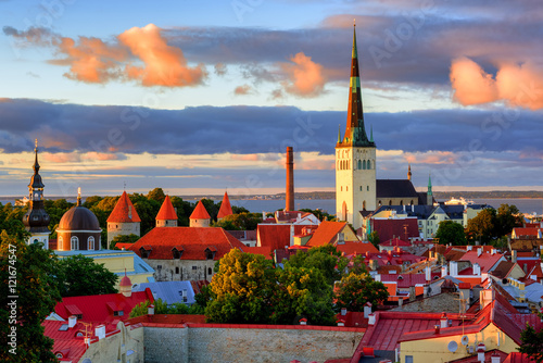 Medieval churches and towers in the old town of Tallinn, Estonia Poster