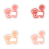 Set paper stickers on white background monkey with banana