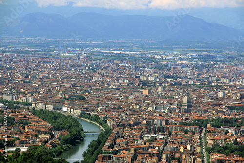 Poster View of the city of Turin from Superga, Turin, Italy