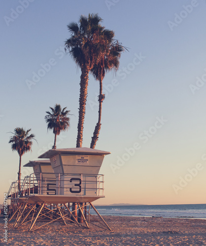 Vintage California Life Guard Station - California beach with life guard tower  - 121677162