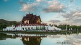 Day to night timelapse of Royal Flora temple - ratchaphreuk - in Chiang Mai, Thailand